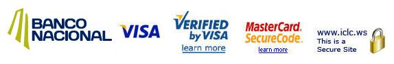 E-Commerce Logos - Banco Nacional / VISA / Verified by VISA / MasterCard SecureCode / ICLC.WS